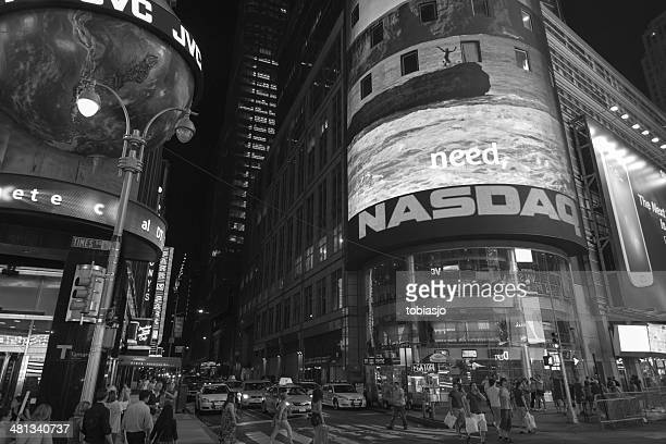 times square manhattan at night - nasdaq stock pictures, royalty-free photos & images