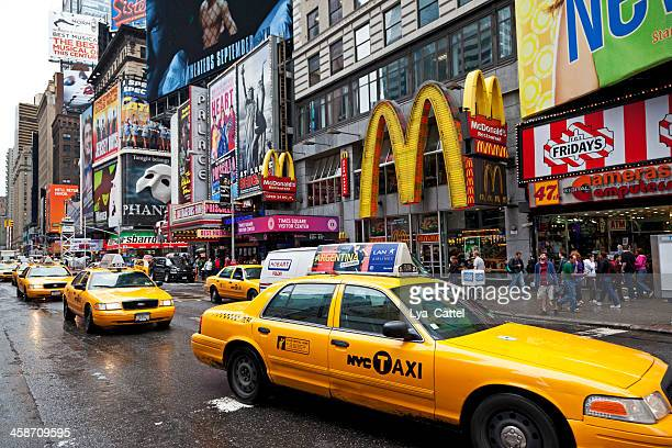 times square new york city - mcdonald's stock pictures, royalty-free photos & images