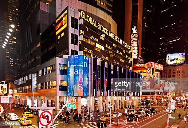 times square new york morgan stanley building - broadway manhattan stock pictures, royalty-free photos & images