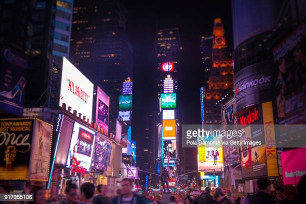 times square night scene, new york, usa - sixth avenue stock pictures, royalty-free photos & images