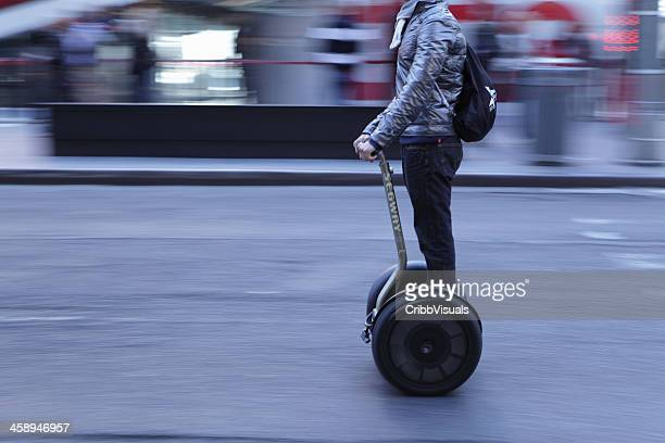 times square nyc man on segway speeding - segway stock pictures, royalty-free photos & images