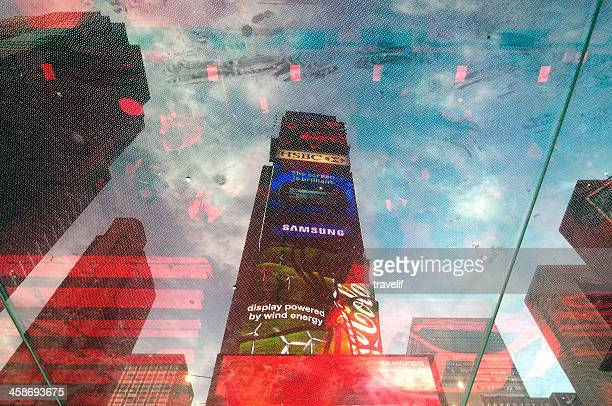 Times Square reflections - skyscrapers with billboards