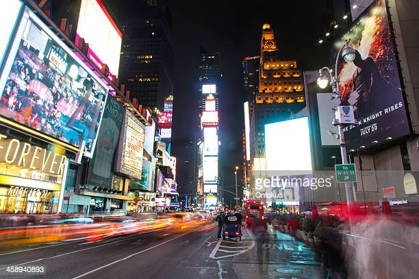 times square scene at night, new york city, usa - large scale screen stock photos and pictures