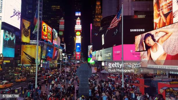 Times Square, view from the top of the Duffy Square platform. Midtown Manhattan, New York City