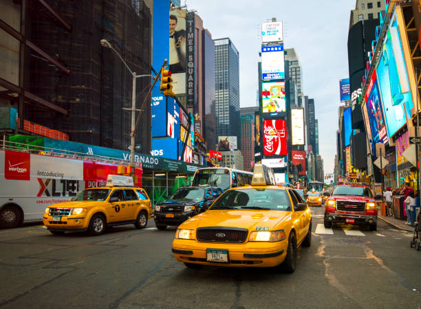Times Square with yellow cabs, New York City, USA