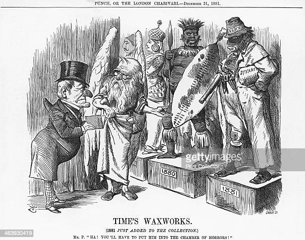 'Time's Waxworks' 1881 Father Time shows Mr Punch around Madame Tussauds the waxwork museum of celebrities that opened in 1802 In the background can...