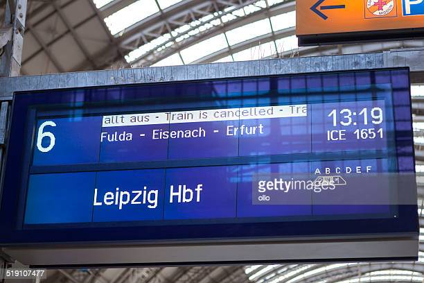 timetable at railway station frankfurt - train engineer strike stock pictures, royalty-free photos & images