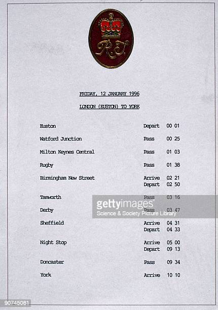 Timetable produced for the journey of the Prince of Wales Princes William and Harry the Earl Spencer and other members of the Spencer family from...