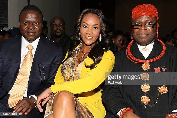 Timi Alaibe actress Vivica A Fox and King Frank Okurakpo attend the 'Black November' film screening at The Library of Congress on February 29 2012 in...