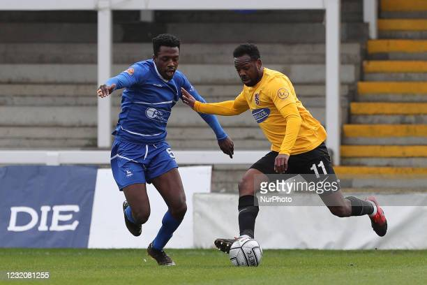 Timi Odusina of Hartlepool United in action with Myles Weston of Dagenham during the Vanarama National League match between Hartlepool United and...