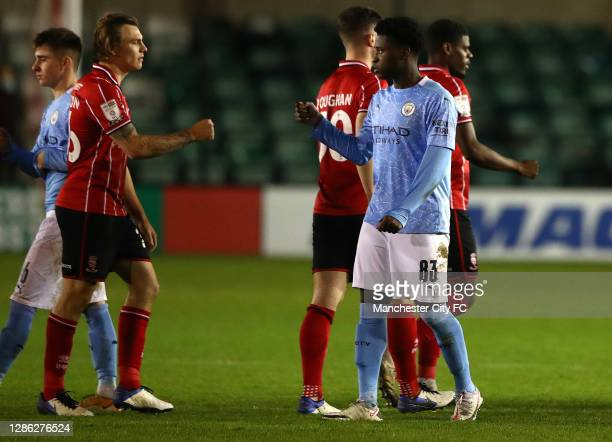 Timi Sobowale of Manchester City U21 pictured after the match with Harry Anderson of Lincoln City during the EFL Trophy match between Lincoln City...