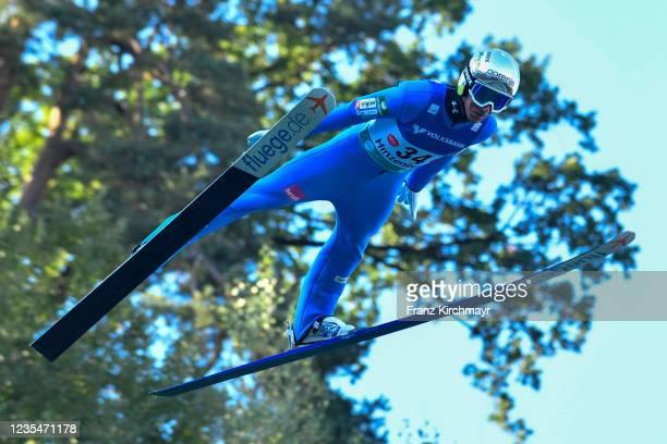 Timi Zajc of Slovenia competes during the FIS Grand Prix Skijumping Hinzenbach at on February 6, 2021 in Eferding, Austria.