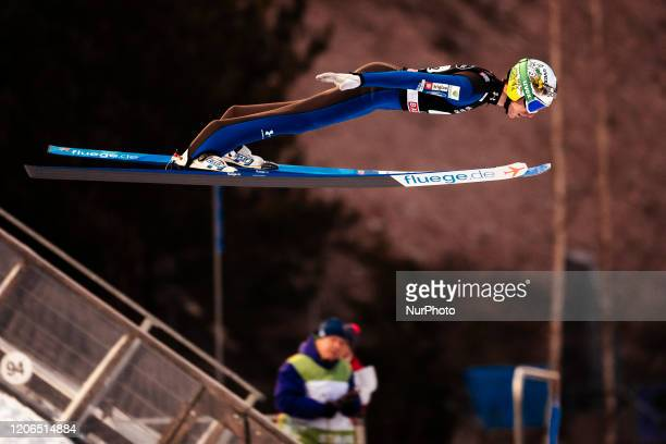 Timi Zajc soars in the air during the men's large hill team competition HS130 of the FIS Ski Jumping World Cup in Lahti, Finland, on February 29,...