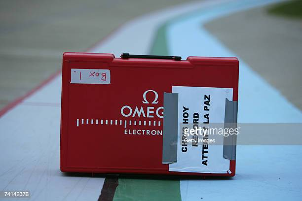Timing devices wait to be unpacked at the track before Chris Hoy's failed attempt to break the World 1 Kilometre Altitude Record at the Alto Irpavi...