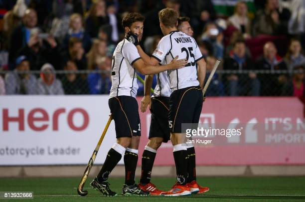 Timm Herzbruch of Germany celebrates scoring their teams fourth goal during day 3 of the FIH Hockey World League Semi Finals Pool B match between...