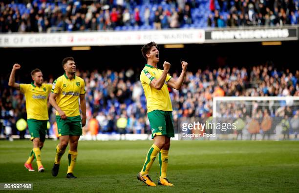 Timm Klose of Norwich City celebrates victory at the end of the Sky Bet Championship match between Ipswich Town and Norwich City at Portman Road on...