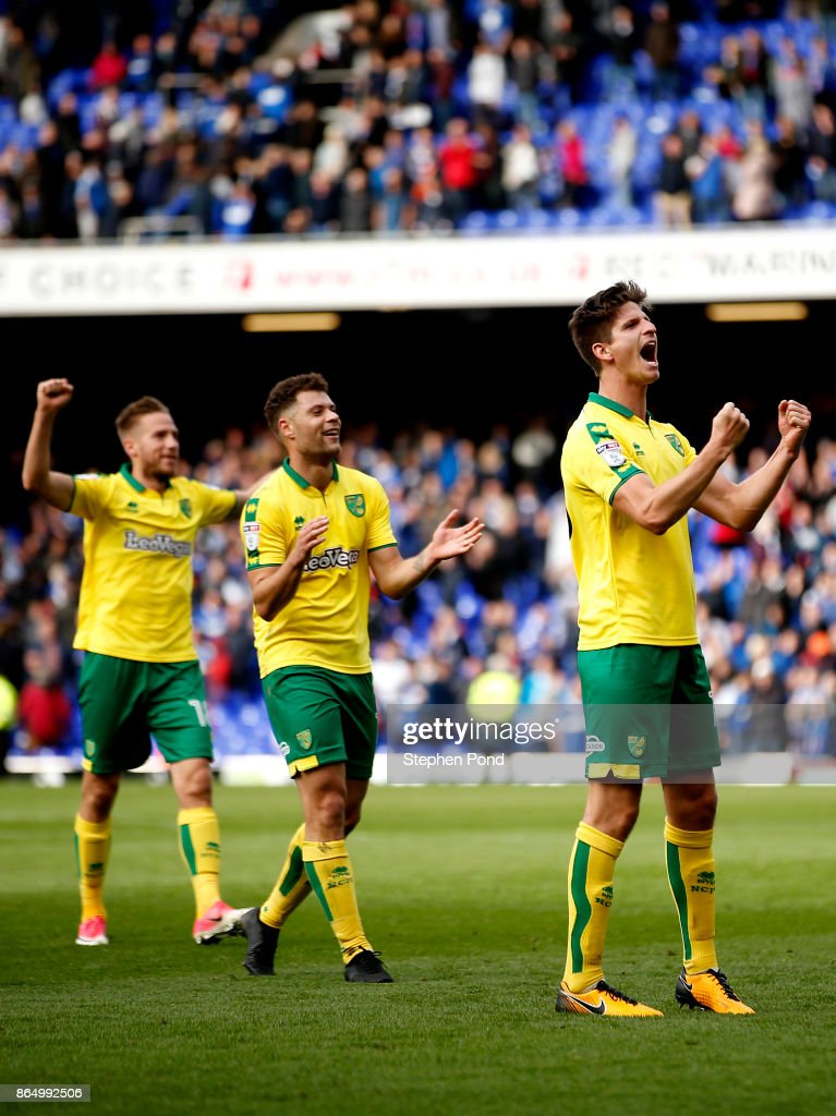 Timm Klose of Norwich City celebrates victory at the end of the Sky Bet Championship match between Ipswich Town and Norwich City at Portman Road on October 22, 2017 in Ipswich, England.
