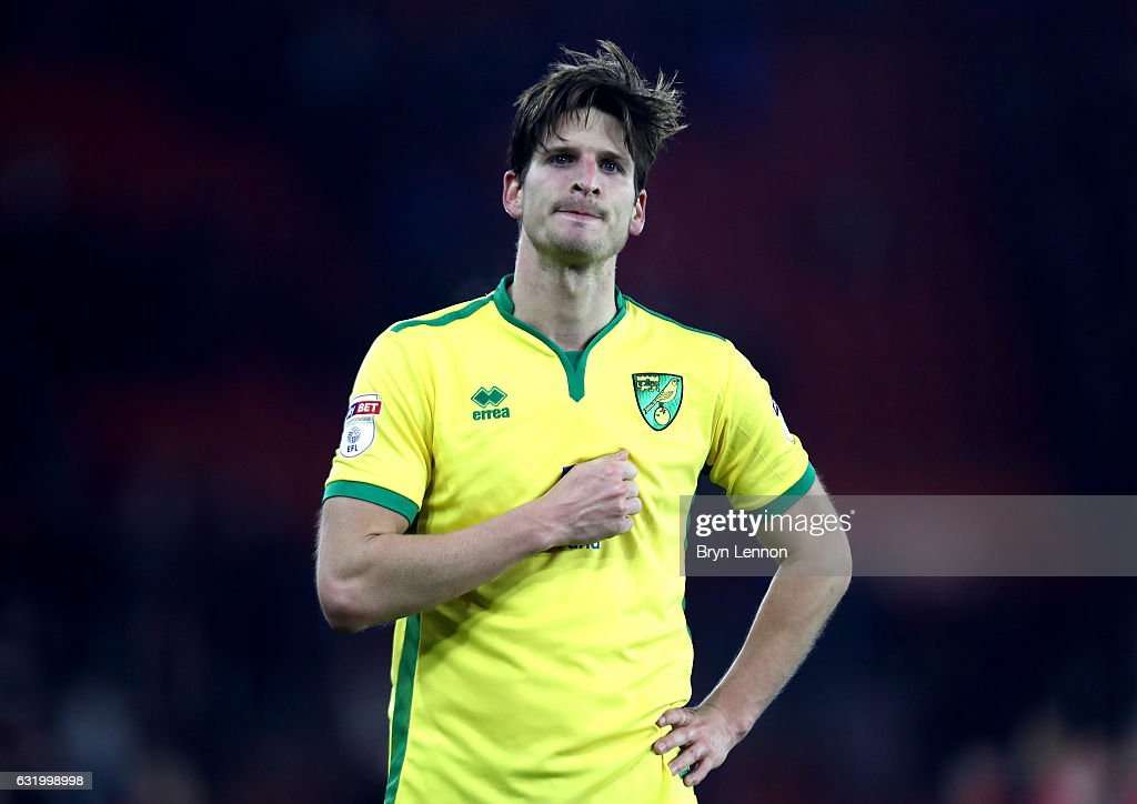 Timm Klose of Norwich City looks dejected after the Emirates FA Cup Third Round Replay match between Southampton and Norwich City at St Mary's Stadium on January 18, 2017 in Southampton, England.