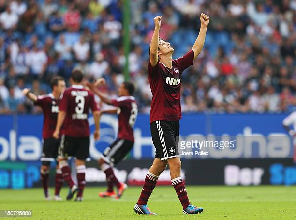 Timm Klose of Nuernberg celebrates after the Bundesliga match between Hamburger SV and 1 FC Nuernberg at Imtech Arena on August 25 2012 in Hamburg...