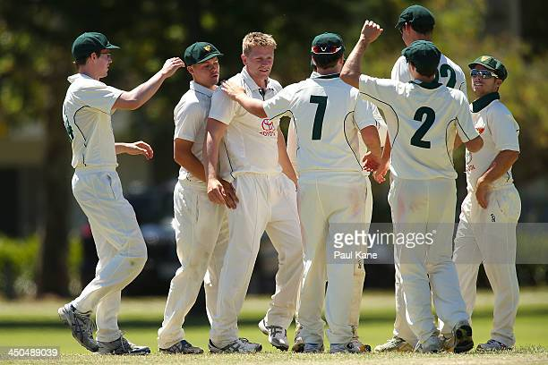 Timm van der Gugden of Tasmania celebrates the wicket of Luke Towers of Western Australia during day two of the Futures League match between Western...
