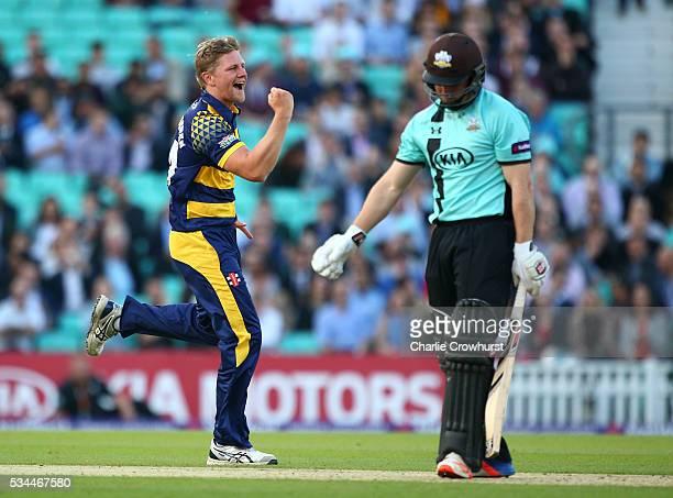 Timm van der Gugten of Glamorgan celebrates taking the wicket of Surrey's Gary Wilson during the Natwest T20 Blast match between Surrey and Glamorgan...
