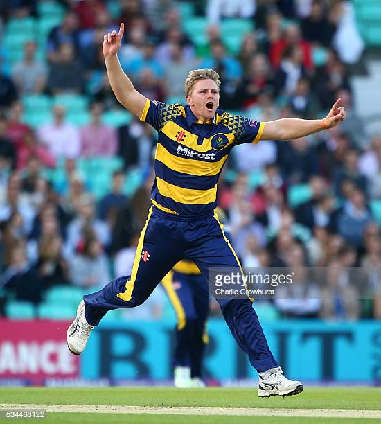 Timm van der Gugten of Glamorgan celebrates taking the wicket of Surrey's James Burke during the Natwest T20 Blast match between Surrey and Glamorgan...
