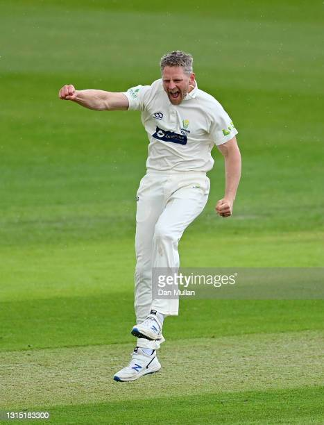 Timm van der Gugten of Glamorgan celebrates taking the wicket of Zak Crawley of Kent during day one of the LV= County Championship match between...