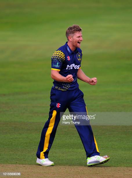 Timm Van Der Gugten of Glamorgan celebrates the wicket of James Hildreth of Somerset during the Vitality Blast match between Somerset and Glamorgan...