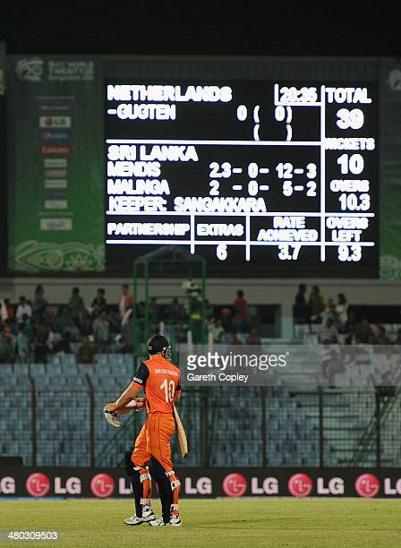 Timm van der Gugten of the Netherlands leaves the field after his team is bowled out for 39 runs during the ICC World Twenty20 Bangladesh 2014 Group...