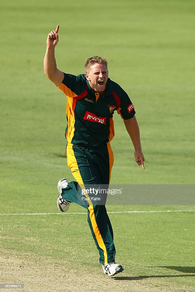 Timm van der Gugten of the Tigers celebrates the wicket of Tim Armstrong of the Warriors during the Ryobi One Day Cup match between the Western Australia Warriors and the Tasmanian Tigers at the WACA on February 19, 2013 in Perth, Australia.