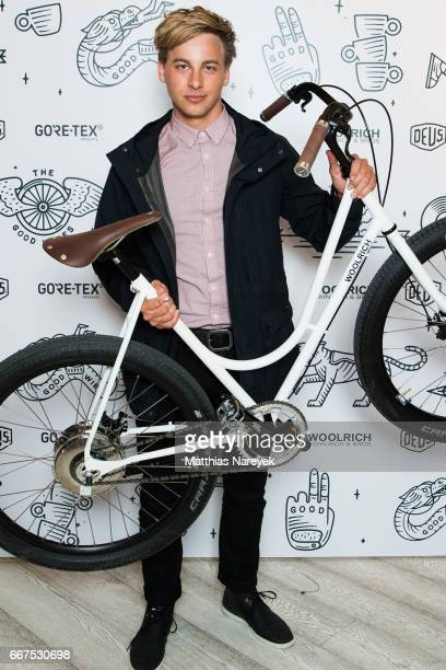 Timmi Trinks attends the opening of the 'Good Wibes Bike Bar' to present the new ebike by Woolrich Deus at the Woolrich Store on April 11 2017 in...