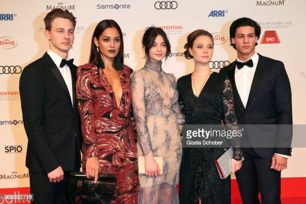 Timmi Trinks Nilam Farooq Anna Lena Klenke Sonja Gerhardt and Emilio Sakraya during the German Film Ball 2018 at Hotel Bayerischer Hof on January 20...