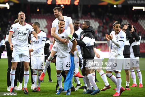 Timmy Chandler of Frankfurt celebrates victory during the UEFA Europa League round of 32 second leg match between RB Salzburg and Eintracht Frankfurt...