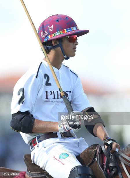 Timmy Dutta of Pilot rides prior to the match against GSA during the Ylvisaker Cup on February 18 2018 at the International Polo Club in West Palm...