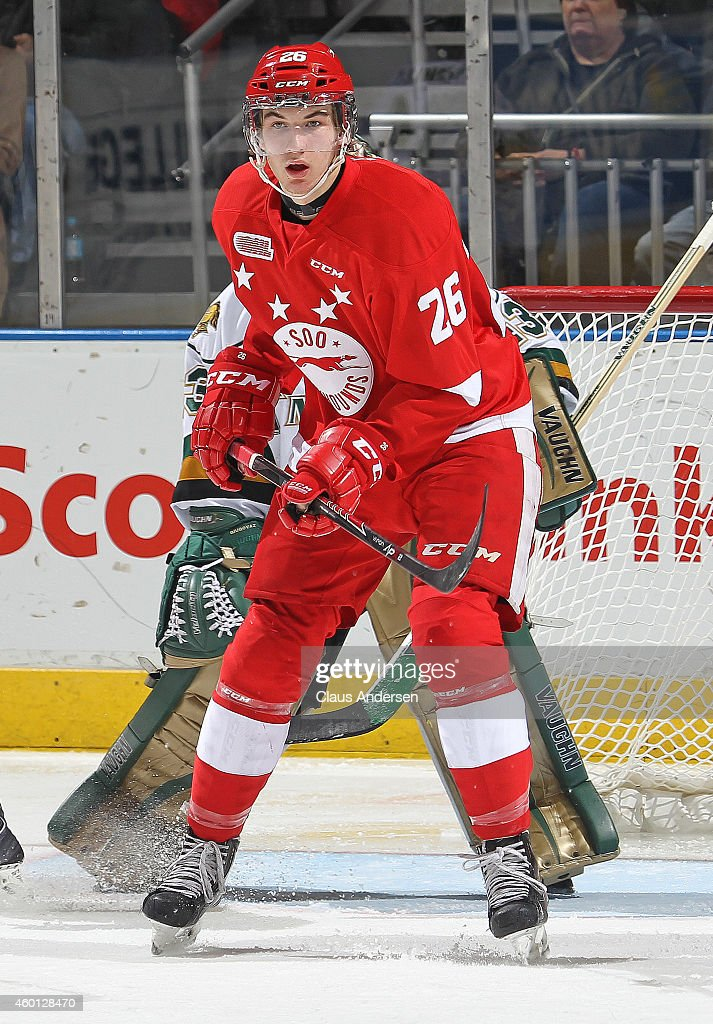 Timmy Gettinger #26 of the Sault Ste. Marie Greyhounds skates against the London Knights in an OHL game at Budweiser Gardens on December 5, 2014 in London, Ontario, Canada. The Greyhounds defeated the Knights 4-0.