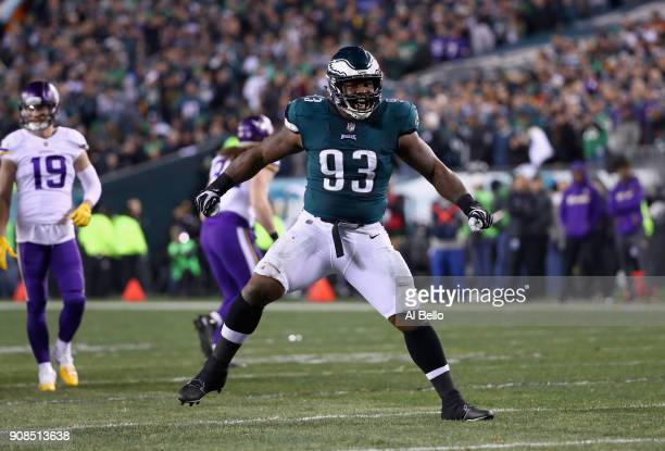 Timmy Jernigan of the Philadelphia Eagles celebrates the play against the Minnesota Vikings during the second quarter in the NFC Championship game at...