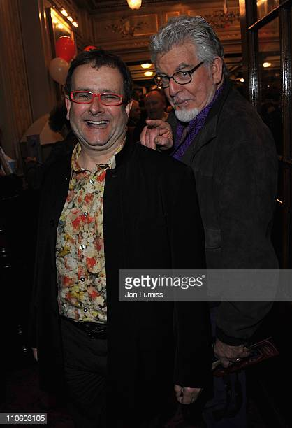 Timmy Mallett and Rolf Harris attend 'The Umbrellas of Cherbourg' Theatre Press Night at the Gielgud Theatre on March 22 2011 in London England