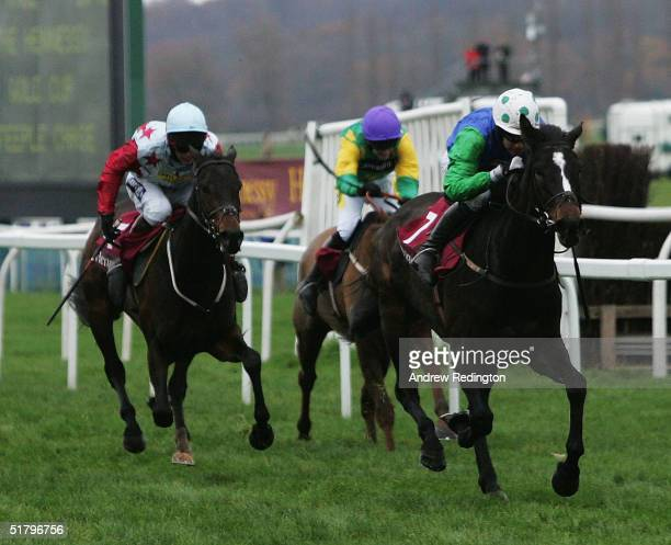 Timmy Murphy and Celestial Gold pull clear to win The Hennessy Cognac Gold Cup Steeple Chase at Newbury racecourse on November 27 2004 in Newbury...