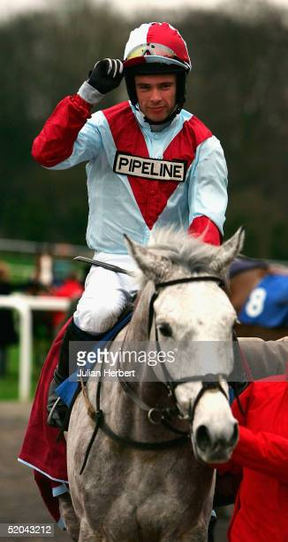 Timmy Murphy and Sixo return after landing The Sporting Index Beginners Steeple Chase Race run at Chepstow Racecourse on January 21 2005 in Chepstow...