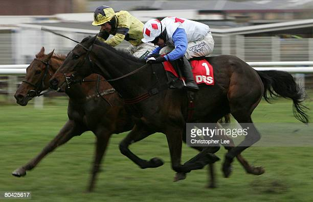 Timmy Murphy riding Diamond Harry beats Gerard Tumelty riding Shalone to win The DBS Spring Sales Bumper at Newbury Racecourse on March 29 2008 in...