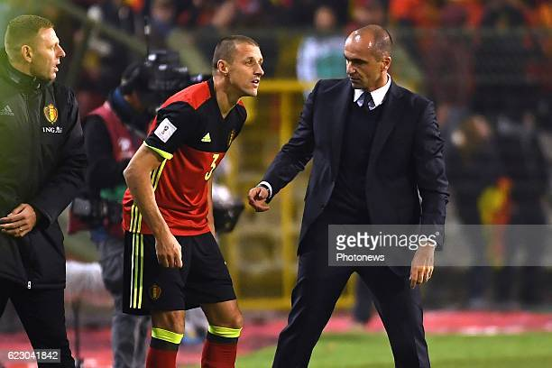 Timmy Simons midfielder of Belgium, Roberto Martinez head coach of Belgian Team during the World Cup Qualifier Group H match between Belgium and...