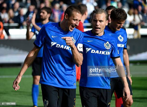 Timmy Simons midfielder of Club Brugge and Ruud Vormer midfielder of Club Brugge celebrates the win pictured during Jupiler Pro League match between...