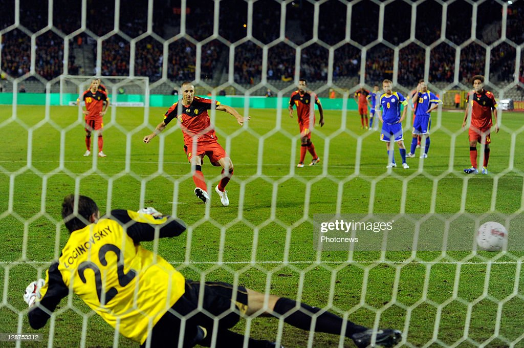 Timmy Simons of Belgium scores a penalty past goalkeeper Vladimir Loginovskiy of Kazakhstan during the UEFA EURO 2012 Group A qualifying match between Belgium and Kazakhstan at King Baudouin Stadium on October 7, 2011 in Brussels, Belgium.