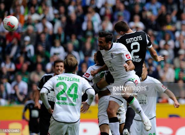 Timmy Simons of Nuernberg is scoring his teams second goal during the Bundesliga match between Borussia Moenchengladbach and 1FC Nuernberg at...