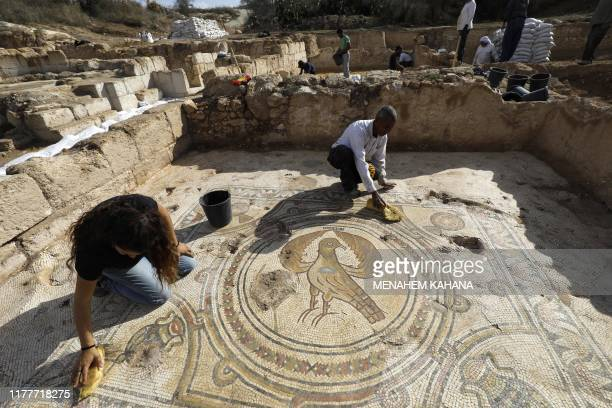Timnah Goloubin an archaeologist with the Israel Antiquities Authority shows on October 23 2019 a mosaic church floor of an Eagle symbol of the...