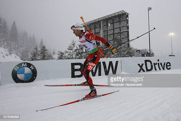 Timo Antila of Finland competes during the mens 10 km sprint event in the IBU Biathlon World Cup on December 10 2010 in Hochfilzen Austria