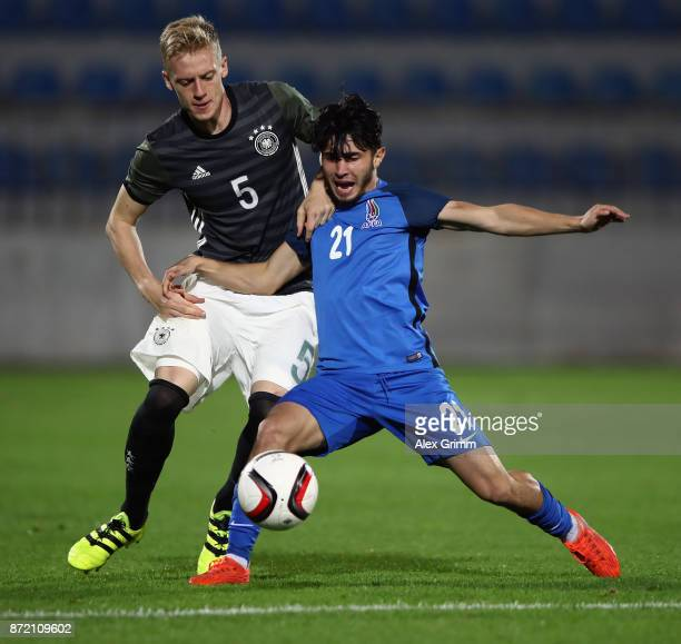 Timo Baumgartl of Germany is challenged by Khayal Nacafov of Azerbaijan during the UEFA Under21 Euro 2019 Qualifier match between Azerbaijan U21 and...