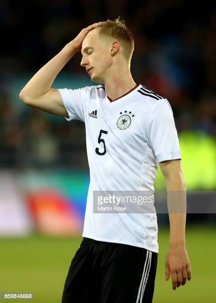 Timo Baumgartl of Germany looks dejected during the UEFA Under21 Euro 2019 Qualifier match between U21 of Norway and U21 of Germany at Marienlyst on...