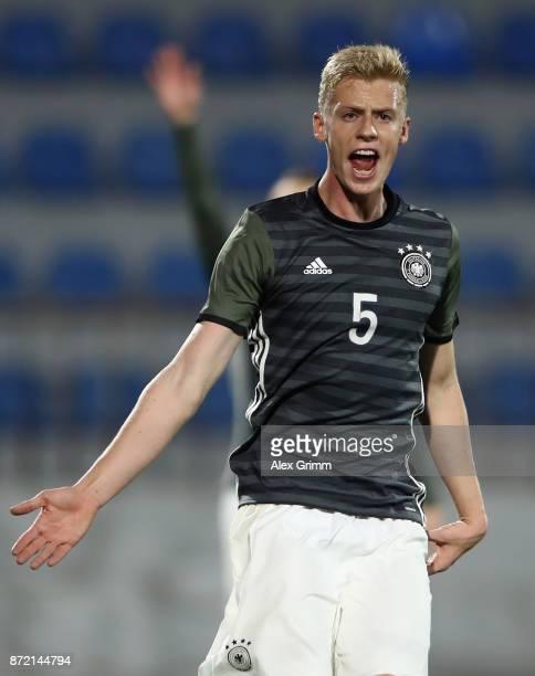 Timo Baumgartl of Germany reacts during the UEFA Under21 Euro 2019 Qualifier match between Azerbaijan U21 and Germany U21 at Dalga Arena on November...