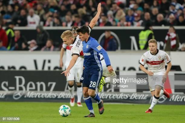 Timo Baumgartl of Stuttgart and Alessandro Schoepf of Schalke battle for the ball during the Bundesliga match between VfB Stuttgart and FC Schalke 04...